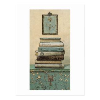 stack of books postcard