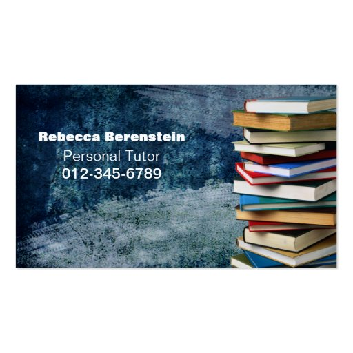 Stack of Books Private Tutor Blue Business Card