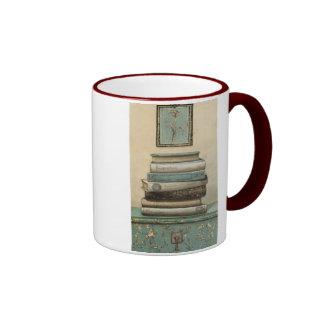 stack of books ringer mug