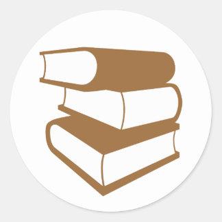 Stack Of Brown Books Classic Round Sticker