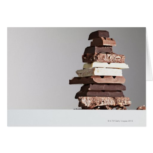 Stack of chocolate bars greeting card