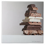 Stack of chocolate bars large square tile