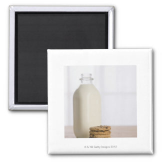 Stack of chocolate chip cookies milk in a glass 2 inch square magnet
