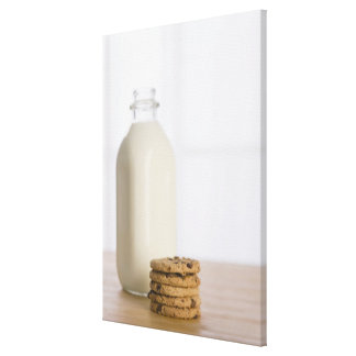 Stack of chocolate chip cookies milk in a glass gallery wrapped canvas