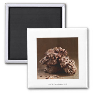 Stack of Chocolate Cookies 2 Inch Square Magnet