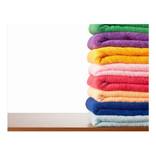 Stack of colorful microfiber towels post card