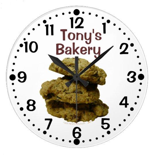 Stack of Cookies Custom Name Shop Kitchen Clock