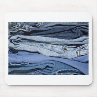 stack of denim jeans mouse pad