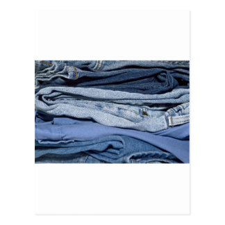 stack of denim jeans postcard