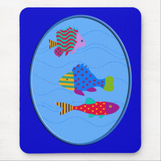 Stack of Fish in Oval Mouse Pad