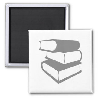 Stack Of Gray Books 2 Inch Square Magnet