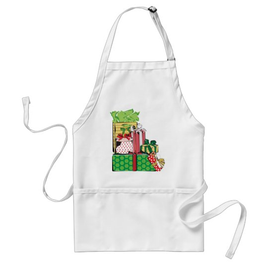 Stack of Holiday Gifts Adult Apron