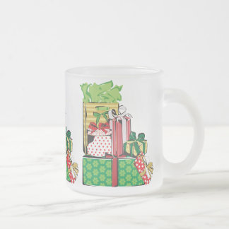 Stack of Holiday Gifts Frosted Glass Coffee Mug