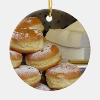 Stack of italian doughnuts with icing sugar Double-Sided ceramic round christmas ornament