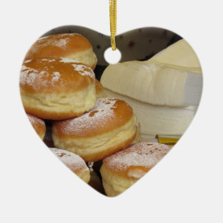 Stack of italian doughnuts with icing sugar Double-Sided heart ceramic christmas ornament