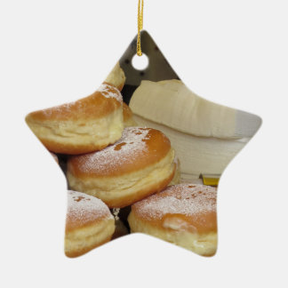 Stack of italian doughnuts with icing sugar Double-Sided star ceramic christmas ornament