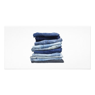 Stack of jeans photo card