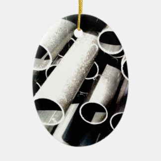 stack of metal tubes ceramic ornament