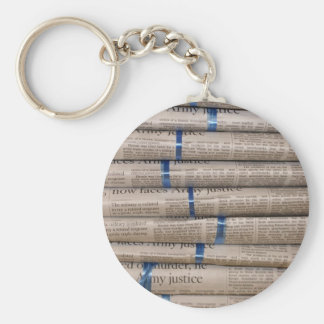 Stack of Newspapers Current Events Art Basic Round Button Keychain