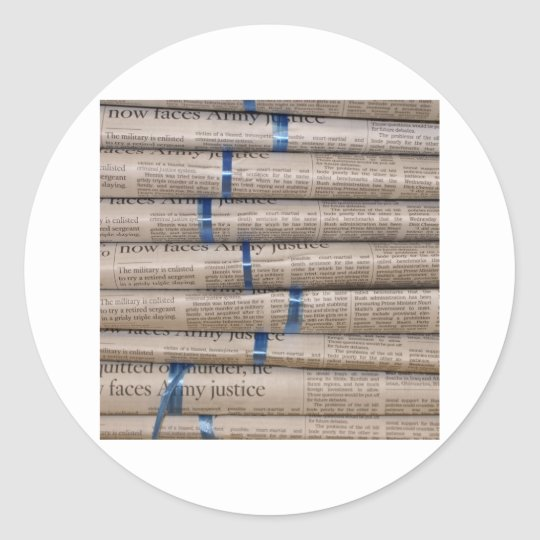 Stack of Newspapers Current Events Art Classic Round Sticker