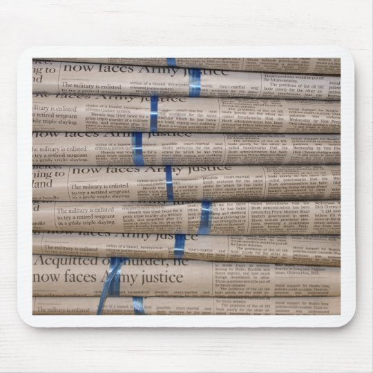 Stack of Newspapers Current Events Art Mouse Pad