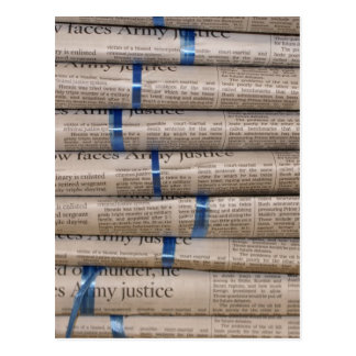 Stack of Newspapers Current Events Art Postcard