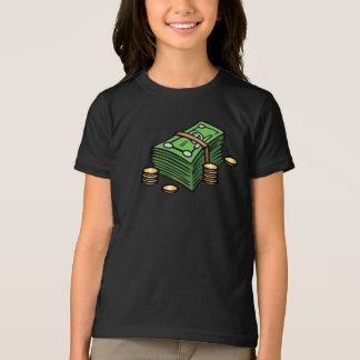 Stack of Notes and Coins Girls T-Shirt