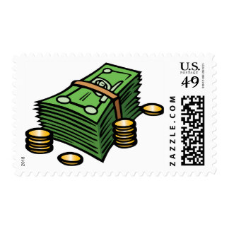 Stack of Notes and Coins Postage