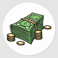 Stack of Notes and Coins Stickers