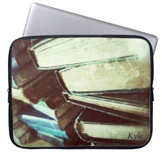 stack of old books neoprene laptop sleeve