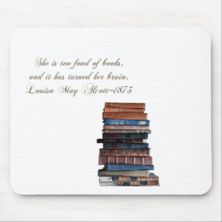 Stack of old books-with Quote Mouse Pad
