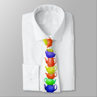 Stack of painted teapots neck tie
