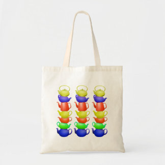 Stack of painted teapots tote bag