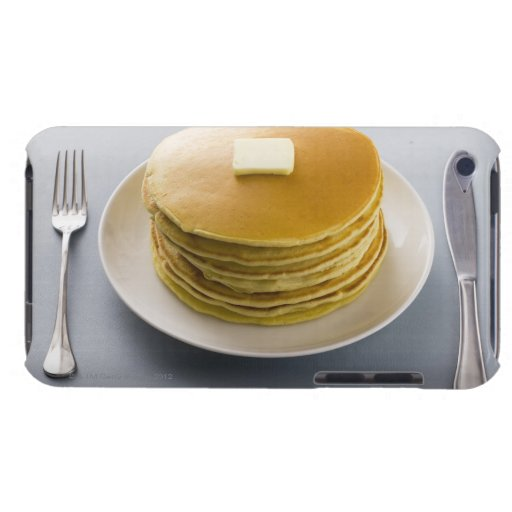 Stack of pancakes with butter on a plate iPod touch case