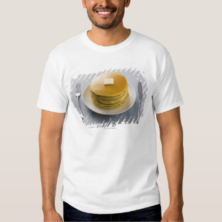 Stack of pancakes with butter on a plate t shirt
