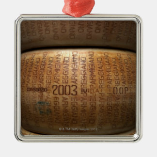 Stack of parmesan cheeses, close-up square metal christmas ornament