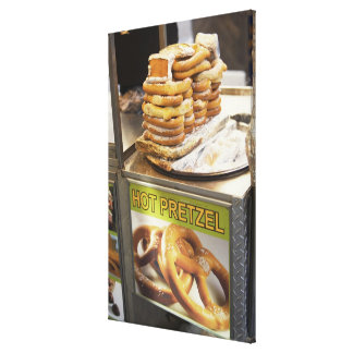 Stack of pretzels at a stall stretched canvas print