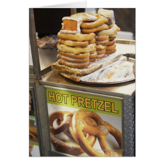 Stack of pretzels at a stall card