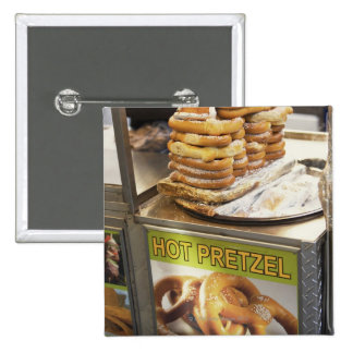 Stack of pretzels at a stall pinback button