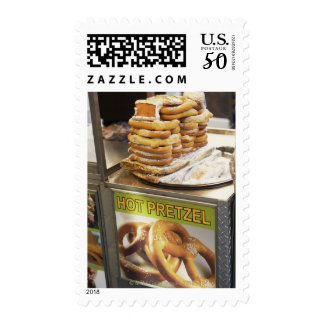Stack of pretzels at a stall postage
