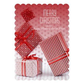 Stack of red wrapped presents 5x7 paper invitation card
