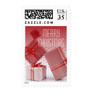 Stack of red wrapped presents stamps