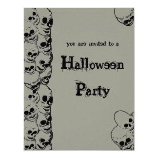 "Stack of Skulls Halloween Party Invitation 4.25"" X 5.5"" Invitation Card"