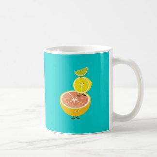 Stack of smiling citrus fruit mugs