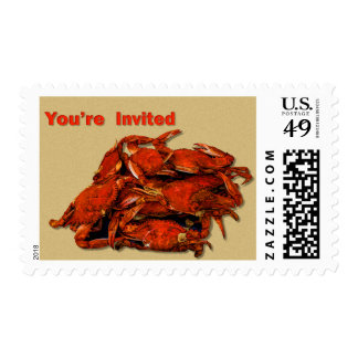 Stack of Steamed Crabs You're Invited Postage