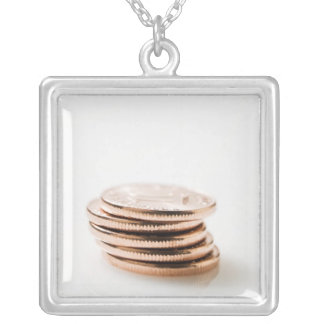Stack of Ten Centavo Coins Square Pendant Necklace