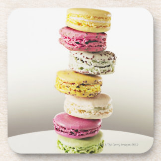 Stack of vibrant macaroons beverage coaster