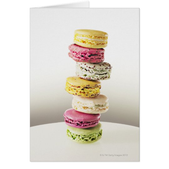 Stack of vibrant macaroons card
