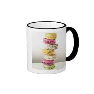 Stack of vibrant macaroons coffee mugs