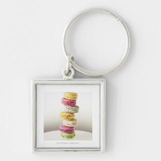 Stack of vibrant macaroons keychain